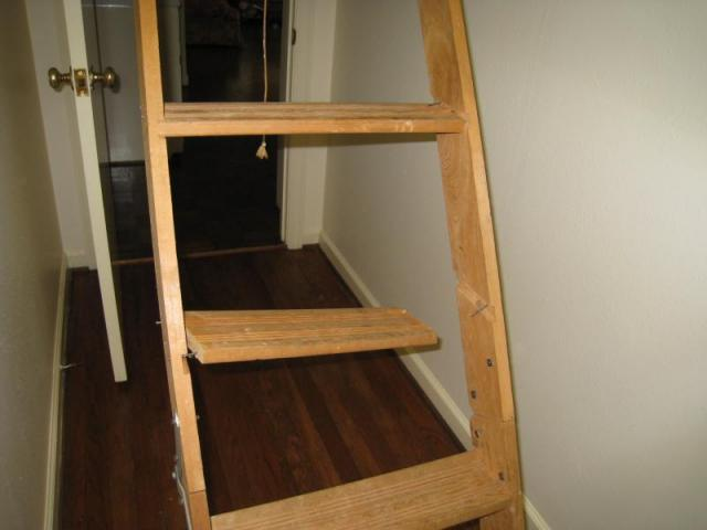 Damaged attic access stair